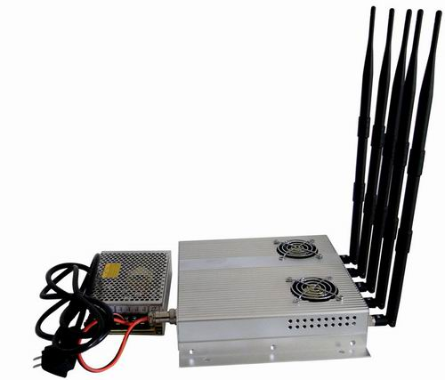 cell phone jammer Eritrea - 5 Antenna 25W High Power 3G Cell phone Jammer with Outer Detachable Power Supply