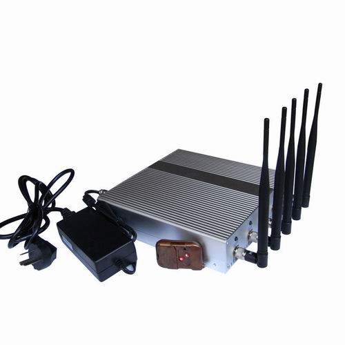 Mobile Phone Jammer 50 Meters - 5 Band High Power 3G 4G Wimax Cell Phone Jammer with Remote Control