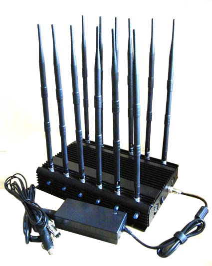12-band Jammer GSM DCS Rebolabile 3G 4G WIFI GPS and RF Bugs from 130 to 500 Mhz