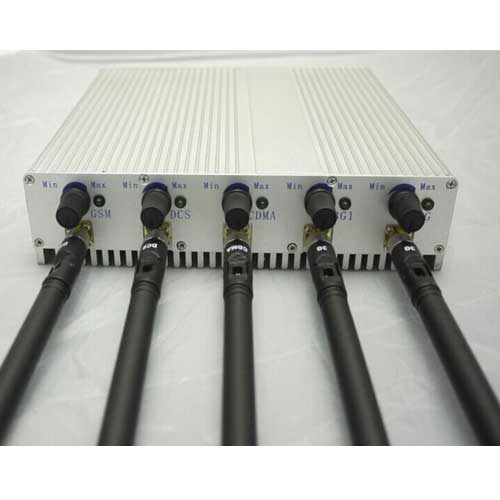 6 Bands RF Radio Jammer - 5 Band Adjustable 3G 4G Cellphone Jammer with Remote Control